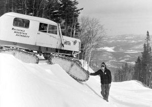 Trail groomer at Whiteface Mountain, New York.